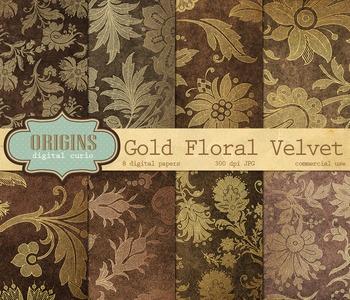 Gold Velvet Floral Damask Digital Paper Textures Backgrounds