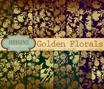 Gold Vintage Floral Digital Paper Indian Sari Backgrounds