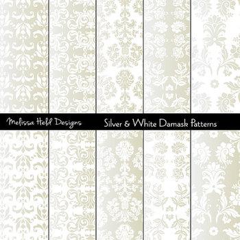 Gold & White Metallic Damask Patterns