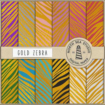 Gold Zebra Digital Paper Pack, Gold Animal Pattern