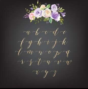 Gold alphabet clipart, Mettalic letters, Wedding fonts, Brush lettering