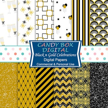 Gold and Black Party Digital Background Papers