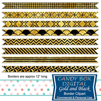 Gold and Black Digital Ribbon Borders