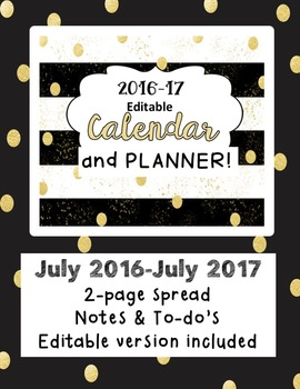 Gold and Black Editable Calendar and Teacher Planner