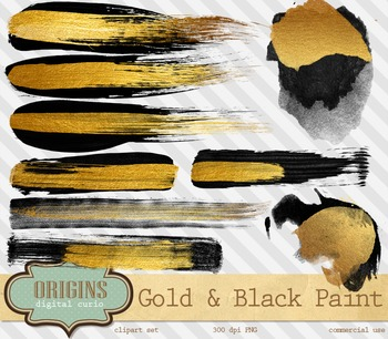 Gold and Black Watercolor brush paint strokes png clipart embellishments