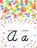 Gold and Confetti Dots Cursive Alphabet Line