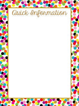 Gold and Confetti Substitute EDITABLE Binder Pages