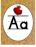 Gold and Confetti Theme Primary Alphabet with Pictures