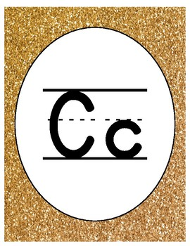 Gold and Confetti Theme Primary Alphabet without Pictures
