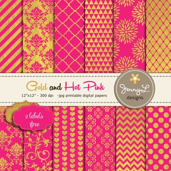 Gold and Hot Pink Digital Papers, Fuchsia and Gold Digital Papers,
