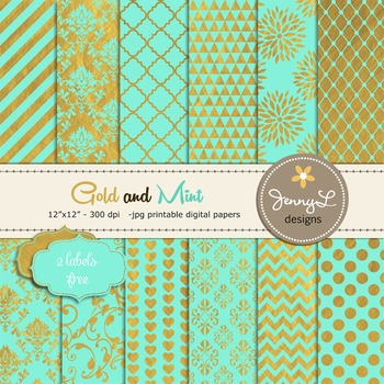 Gold and Mint Digital Papers