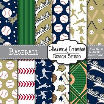 Gold and Navy Blue Baseball Digital Paper 1510
