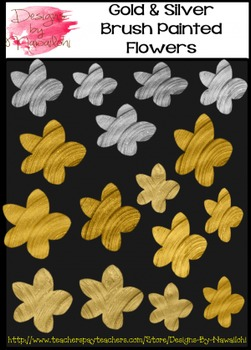 Gold and Silver Brush Painted Flowers