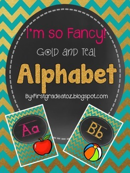 Gold and Teal Alphabet