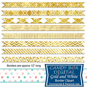 Gold and White Digital Ribbon Borders