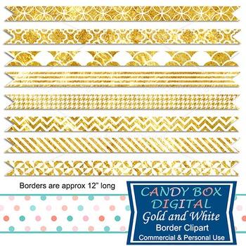 Gold and White Digital Ribbon Borders