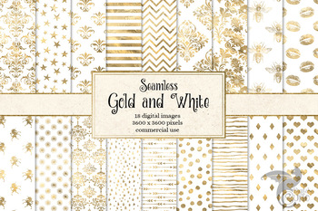 Gold and White digital paper, seamless white and gold foil patterns