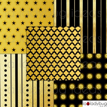 Gold and black wallpapers. Golden and black digital papers. Backgrounds.