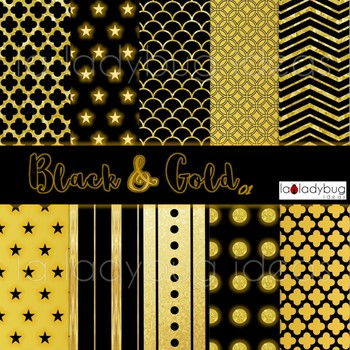 Gold and black wallpapers. Golden and black digital papers