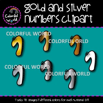 Gold and silver numbers clipart