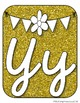 Gold and white cursive alphabet posters