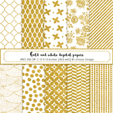 Gold and white glitter digital paper, festive digital paper