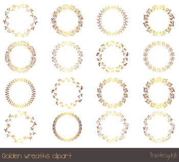 Gold borders and frames clipart, Round gold wreath clipart, Golden circle frame