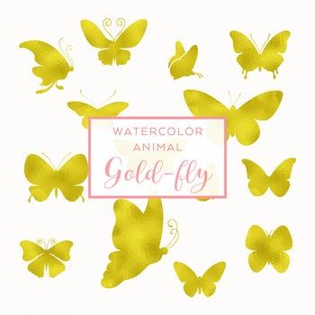 Gold foil Butterfly Clip Art