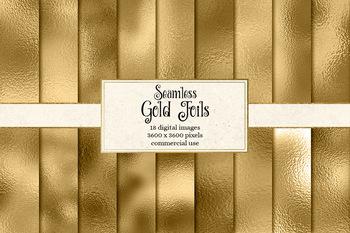 Gold foil digital paper, seamless metallic gold textures
