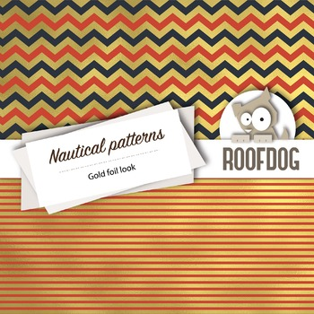 Gold foil look nautical themed digital papers