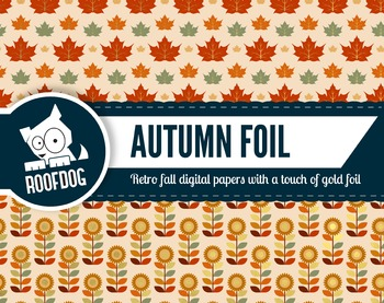 Gold foil look retro fall themed digital papers autumn leaves, floral and acorns