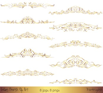Gold frame clipart, Golden border clip art, Flourish clipart, Swirl clip art