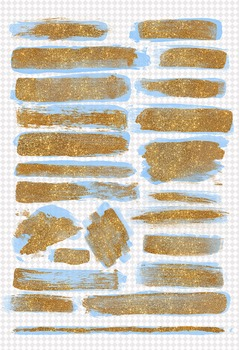 Gold glitter and blue paint brush strokes overlays