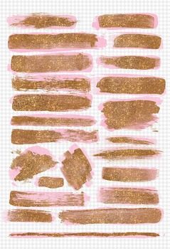 Gold glitter and pink paint brush strokes overlays