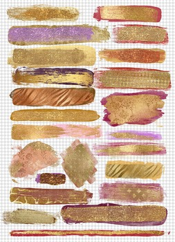 Gold paint glitter watercolor foil metallic brush strokes overlays clipart