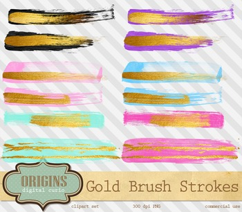 Gold paint strokes embellishments, watercolor watercolour ink splatter brush
