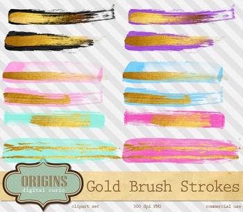 Gold paint strokes embellishments, watercolor watercolour