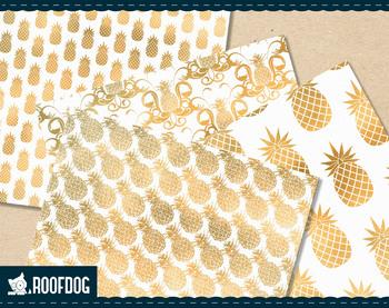 Gold pineapple digital paper