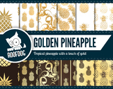 Gold pineapple digital paper