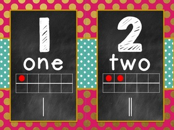 Gold polkadots and pink number line