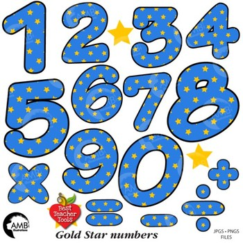 Gold star on Blue Night Sky Numbers Clipart, {Best Teacher Tools} AMB-1864