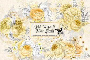 Gold White And Silver Floral Clipart Rustic Wedding Flowers Clip Art