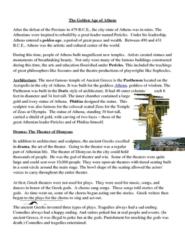 Golden Age of Athens Ancient Greece Informational Text