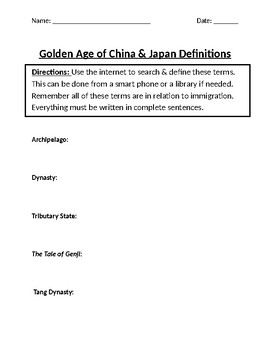 Golden Age of China & Japan Homework Definitions