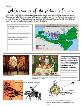 Golden Age of Islam Achievements Worksheet