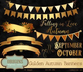 Golden Autumn Banners and Frames Clipart