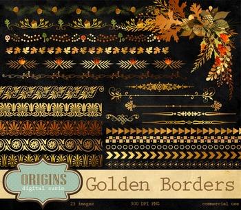 Golden Autumn Borders Clipart