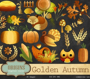 Golden Autumn Woodland Clipart