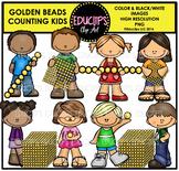 Golden Beads Counting Kids Clip Art Bundle {Educlips Clipart}