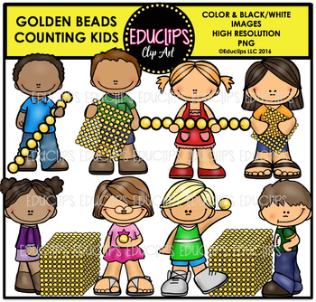 Golden Beads Counting Kids Clip Art Bundle {Educlips Clipart}
